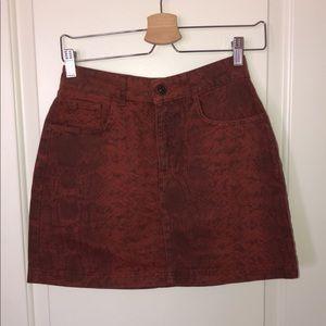 BDG burnt orange snake skin skirt
